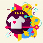 T Shirt On Abstract Colorful Spotted Background With Different Elements