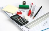 Notepad Calculator Ruler Pens Pencil Bulldog Clip