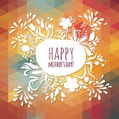 Happy Greeting Mother's Day Spring Card. Floral illustration