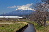 japan bullet train shinkansen and mountain fuji