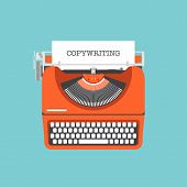 pic of typewriter  - Flat design style modern vector illustration concept of copywriting marketing information public relations advertising text social media campaign blogging business promotion materials and presentation a new product on a market - JPG