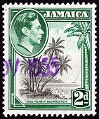Postage Stamp Jamaica 1938 Coco Palms At Columbus Cove