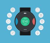 picture of sms  - Flat design style modern vector illustration concept with icons of smart watch gadget personal digital device with mobile apps like phone calls social media sms texting music media player calendar and time management - JPG