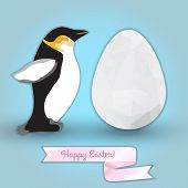 Egg And Penguin. Congratulation With Easter