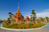 image of crematory  - Blue sky day of Royal Thai crematory in center of Thailand - JPG