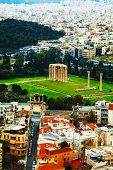 picture of olympian  - Temple of Olympian Zeus in Athens Greece on an overcast day - JPG