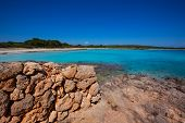 Menorca Son Saura beach in Ciutadella turquoise color at Balearic islands