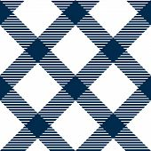 Checkered gingham fabric seamless pattern in blue and white, vector