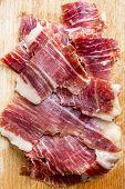 Spanish Iberico Ham Slices Closeup