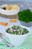 pic of sunflower-seeds  - Broccoli salad with bacon and sunflower seeds in white salad bowl - JPG