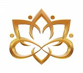 stock photo of hieroglyphic symbol  - Lotus flower abstract yoga symbol - JPG
