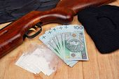 pic of drug dealer  - Things bandit criminal drug dealer gun balaclava gloves polish money on the table - JPG