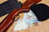 foto of drug dealer  - Things bandit criminal drug dealer gun balaclava gloves euro money on the table - JPG