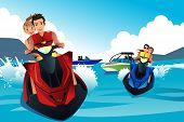 Young People Riding Jet Ski