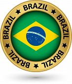 Brazil Gold Label With Flag, Vector Illustration