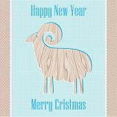 Sheep On A Blue Background Texture Of The Wood Design Card New Year Christmas