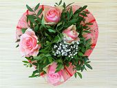 Heart shaped pink roses bouquet