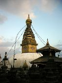 Small Stupas In Front Of The Swayambhunath Temple