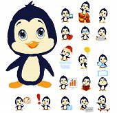Penguin mascot in different positions. Fully layered for easy editing.