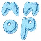 Vector hand drawn doodle font letters M,N,O,P