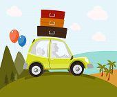 Family in car - Illustration