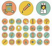 Vector  medical icons set on colorful background