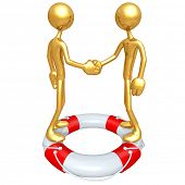 Gold Guys Life Preserver Handshake