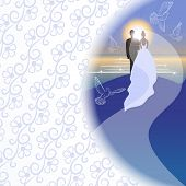 White background with bridegroom, bride, pigeons, sea, sun and sunrise in semicircular window