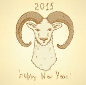 Sketch New Year Ram In Vintage Style