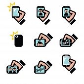 Selfie, taking photos with smartphones for social media icons set