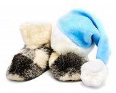 Blue Santa Hat And Warm Woolen  Boots - Christmas Or New Year's
