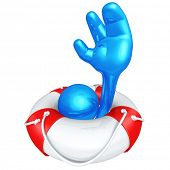 3D Character In Lifebuoy
