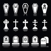 Halloween, graveyard icons set - coffin, cross, grave on black