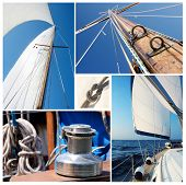 Collage Of Sailing Boat Stuff - Winch, Ropes, Yacht In The Sea,knot,sails,mast
