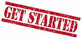 Get Started Red Grungy Stamp On White Background