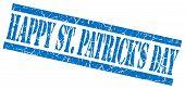 Happy St Patricks Day Blue Grungy Stamp On White Background