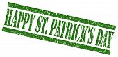 Happy St Patricks Day Green Grungy Stamp On White Background