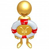 Gold Guy With Lifebuoy Yen Coin