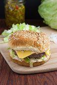 Cheeseburger On Countertop