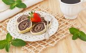 picture of brazilian food  - Brazilian chocolate dessert with strawberry cup of coffee - JPG