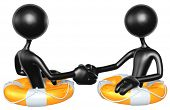 3D Characters Shaking Hands In Lifebuoys