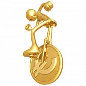 Gold Guy On Euro Coin Unicycle