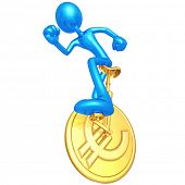 3D Character On Euro Coin Unicycle