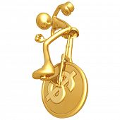 Gold Guy On Dollar Coin Unicycle