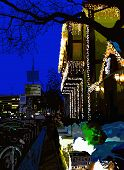 digital painting of nightly city, evening Kyiv