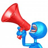 3D Character Screaming Into Megaphone