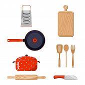 Kitchen stuff. Color vector illustration.