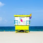 Lifeguard Tower In Miami Beach On A Beautiful Summer Day