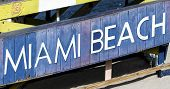 Miami Beach Sign On Lifeguard Hut