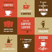 foto of frappe  - Coffee latte frappe cappuccino mini poster set isolated vector illustration - JPG